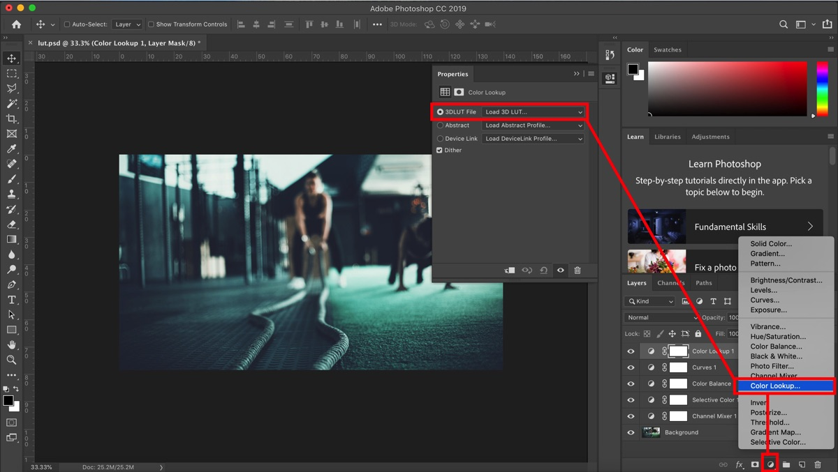 Creating a Lut preset in Photoshop