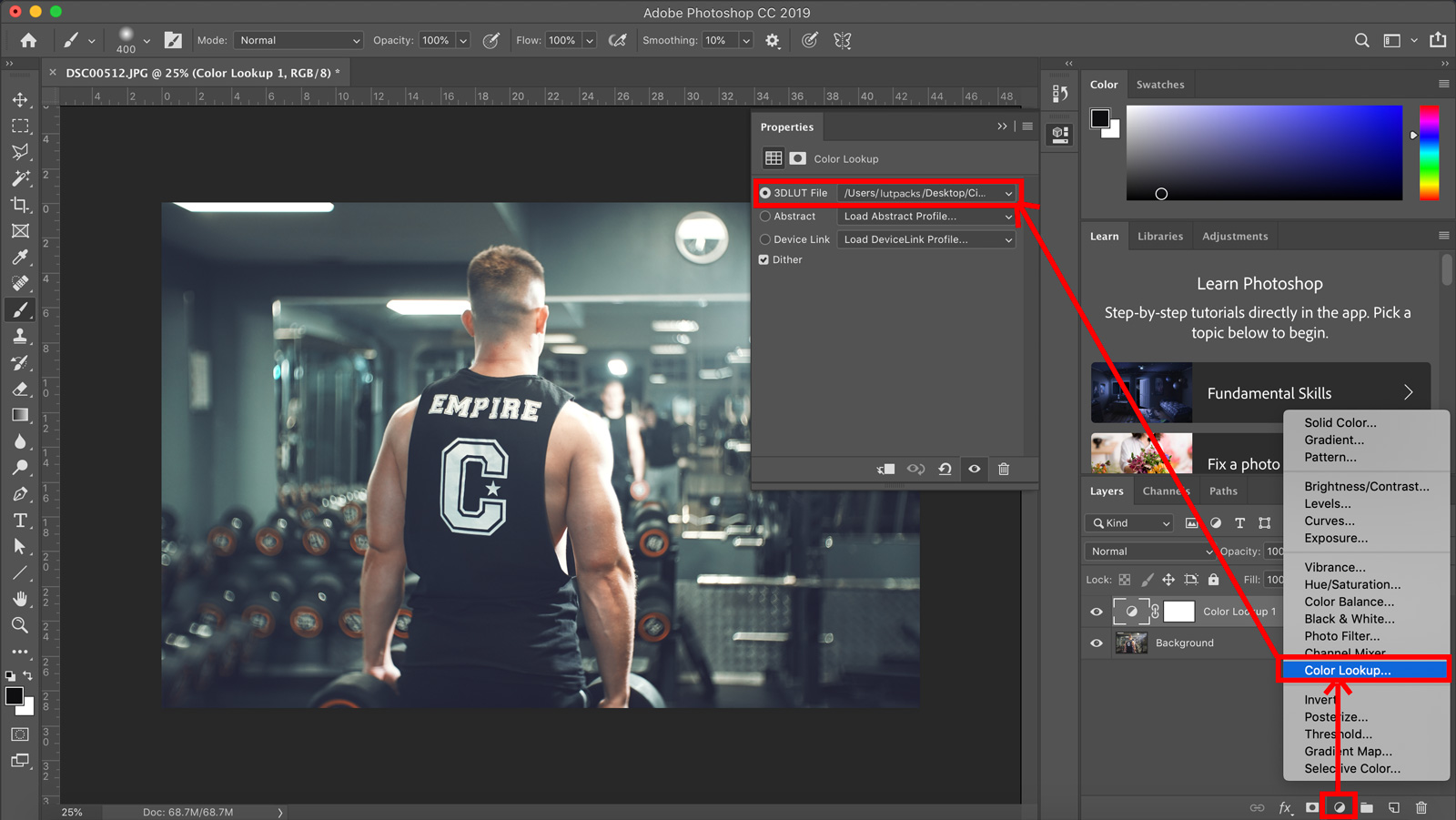 How to use lut preset packs in photoshop
